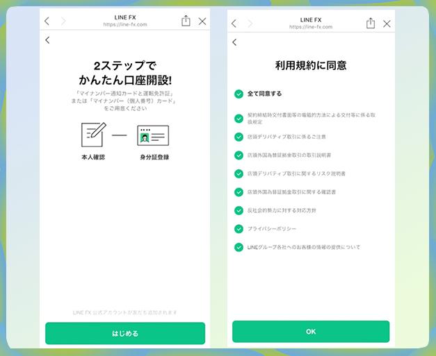 LINE FX(ラインFX)の口座開設手順1:利用規約に同意