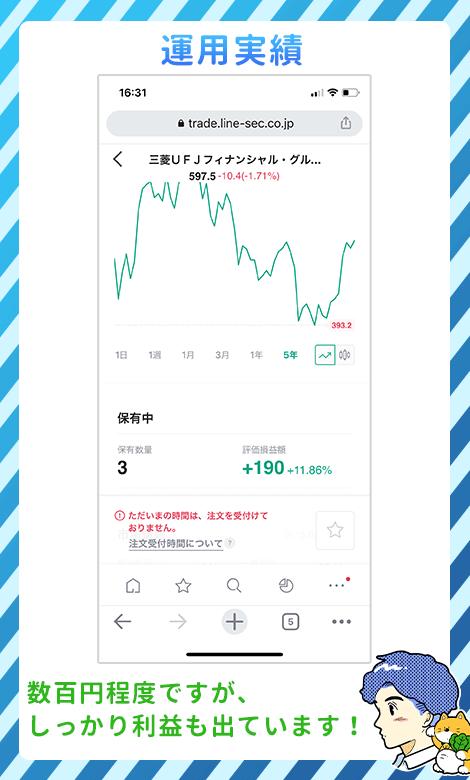 LINE証券の運用実績